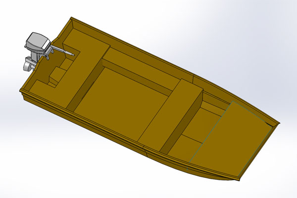 Pocket Tunnel Jon Boat Rendering 3D Model